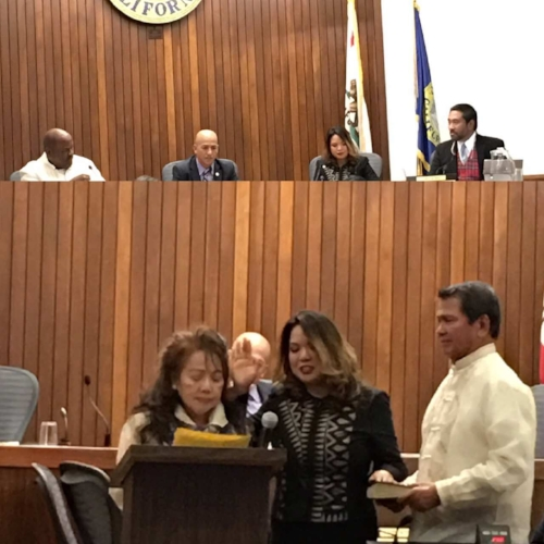 Juslyn Manalo (Global FWN100™ '12) sworned in by her parents as the first Filipina woman elected to the Daly City Council, December 12 ,2016.