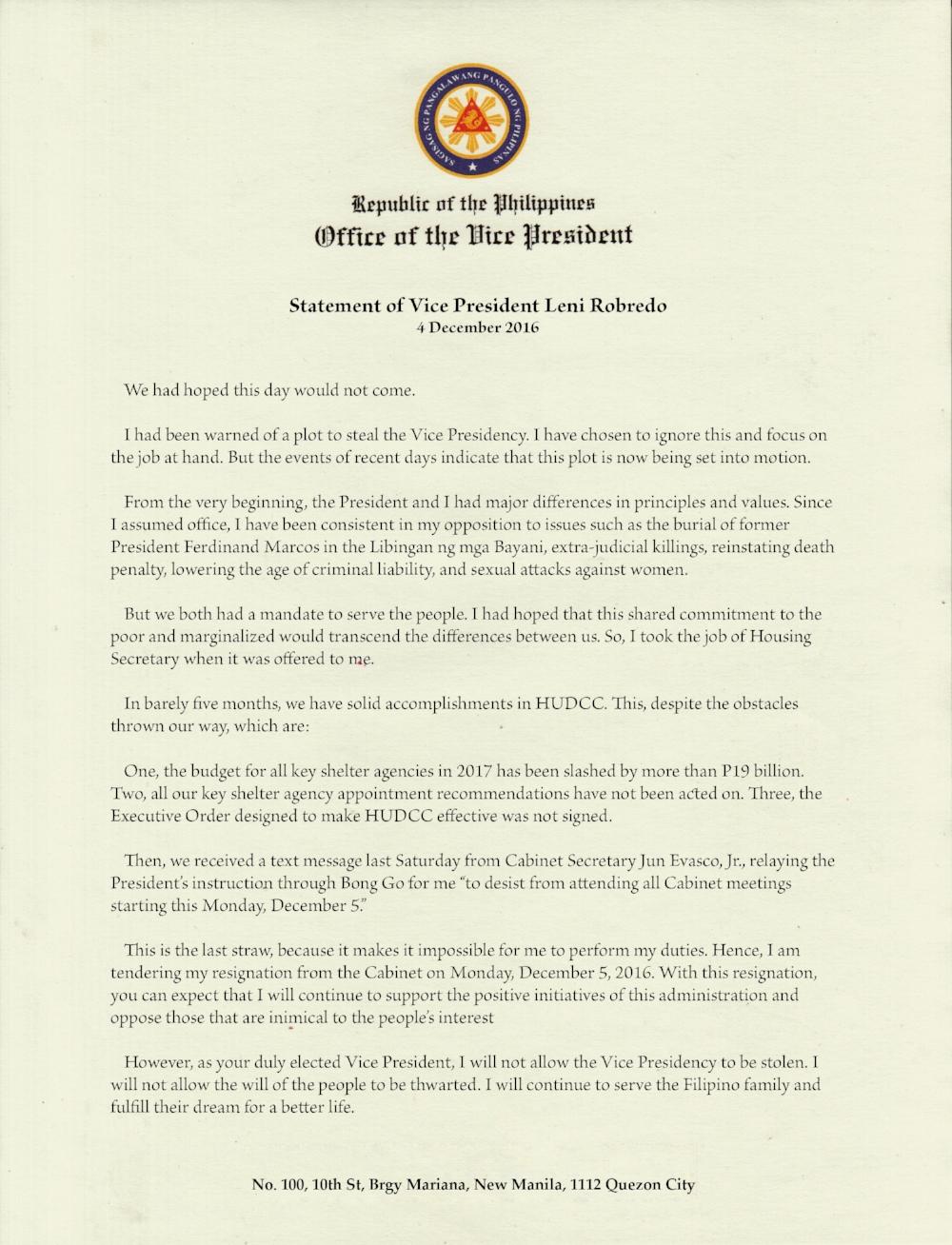 VP Robredo Cabinet Resignation