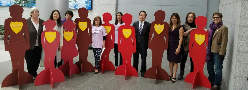 October 17, 2016 – Executive Director of the San Francisco Domestic Violence Consortium Beverly Upton, members of the Filipina Women's Network, San Francisco Supervisor Katy Tang, Board Member Fiona Ma, Assembly member David Chiu, and community activist Debra Walker stand with the Silent Witness display.