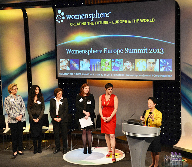 Analisa moderates the Q&A portion of the Womensphere Summit in Europe.