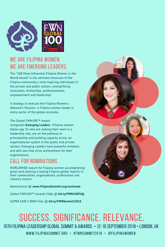 Emerging Leaders pictured: Claire Quito (Global FWN100™ '17), Francine Maigue (Global FWN100™ '15), Juslyn Manalo (Global FWN100™ '15), and Michelle Bumgarner (Global FWN100™ '13)