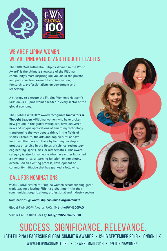 Innovators & Thought Leaders pictured: Anna-Karina Tabuñar (Global FWN100™ '17), Gizelle Covarrubias Robinson (Global FWN100™ '17), Edita De Leon (Global FWN100™ '16), and Jennifer Jose, M.D. (Global FWN100™ '17)