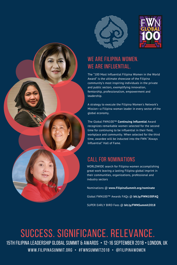 Continuing Influential Awardees pictured: Usec. Nora Terrado (Global FWN100™ '14, Global FWN100™ '16), Mary Jane Alvero-Al Mahdi (Global FWN100™ '13, Global FWN100™ '17), Pet Hartman (Global FWN100™ '15, Global FWN100™ '16), and Maan Hontiveros (Global FWN100™ '14, Global FWN100 '16)