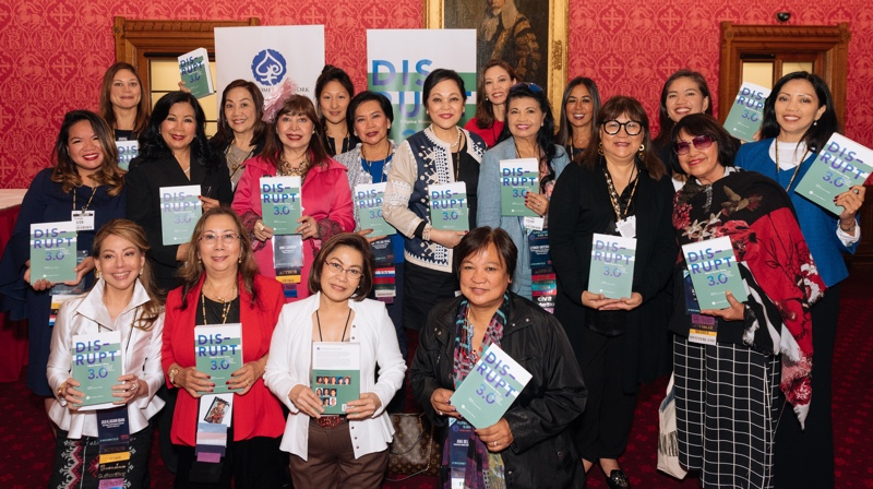 Some of the    authors of  DISRUPT 3.0. Filipina Women: Rising   at the book's launch at the U.K.'s House of Lords during the 15th Filipina Leadership Summit on September 13, 2018. (Photo: Filipina Women's Network)