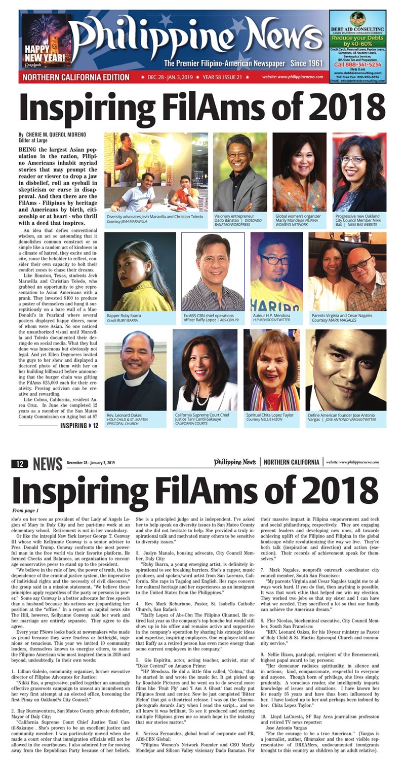 "Read more at  ""Inspiring FilAms of 2018"" by Cherie Querol Moreno,  Philippine News"