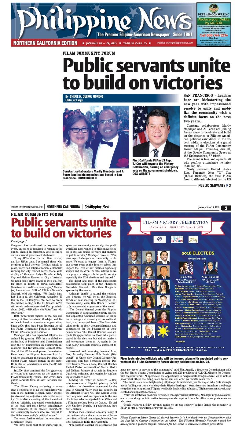 "Read more:  ""FilAm Community Forum Public Servants Unite To Build On Victories by Cherie M. Querol Moreno,  Philippine News."