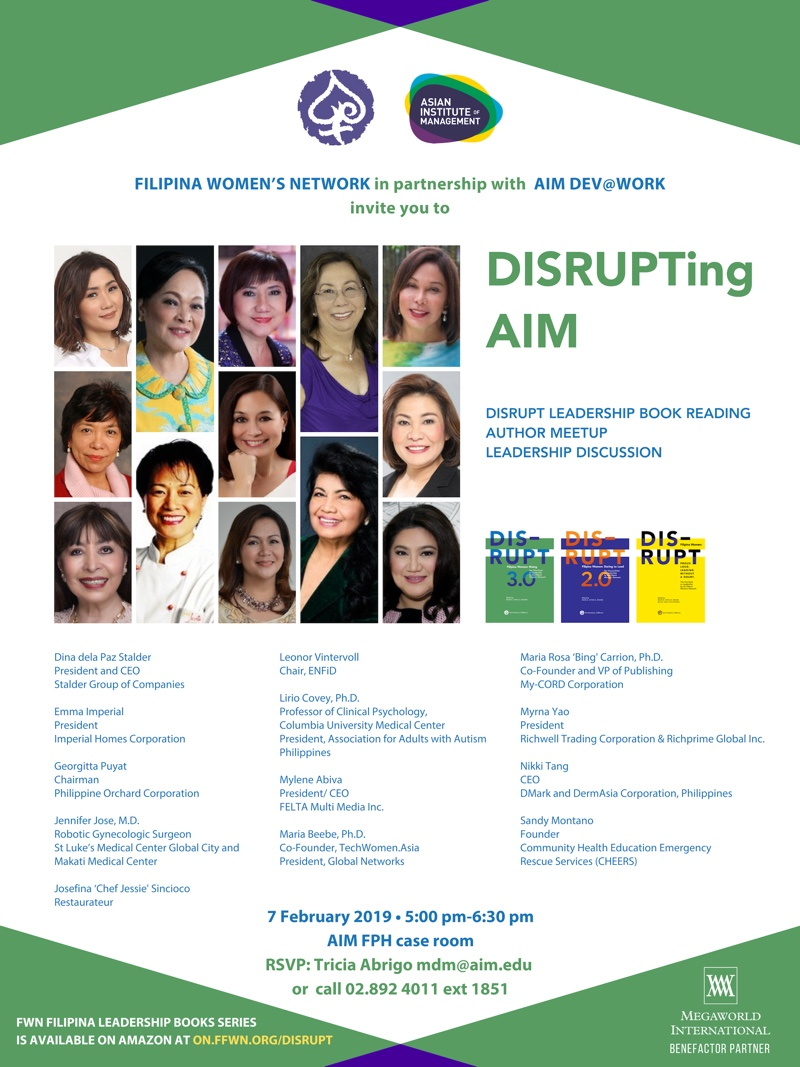 The FWN Filipina Leadership Books Series is available on Amazon at  on.ffwn.org/DISRUPT
