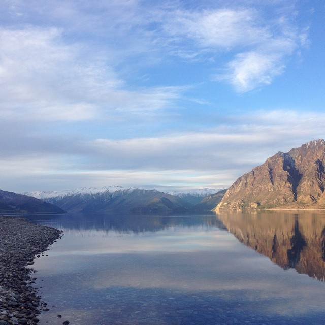 We have just returned from an amazing trip to the South Island. This is from a drive we took along Lake Hawea on a beautifully calm evening. 🍂