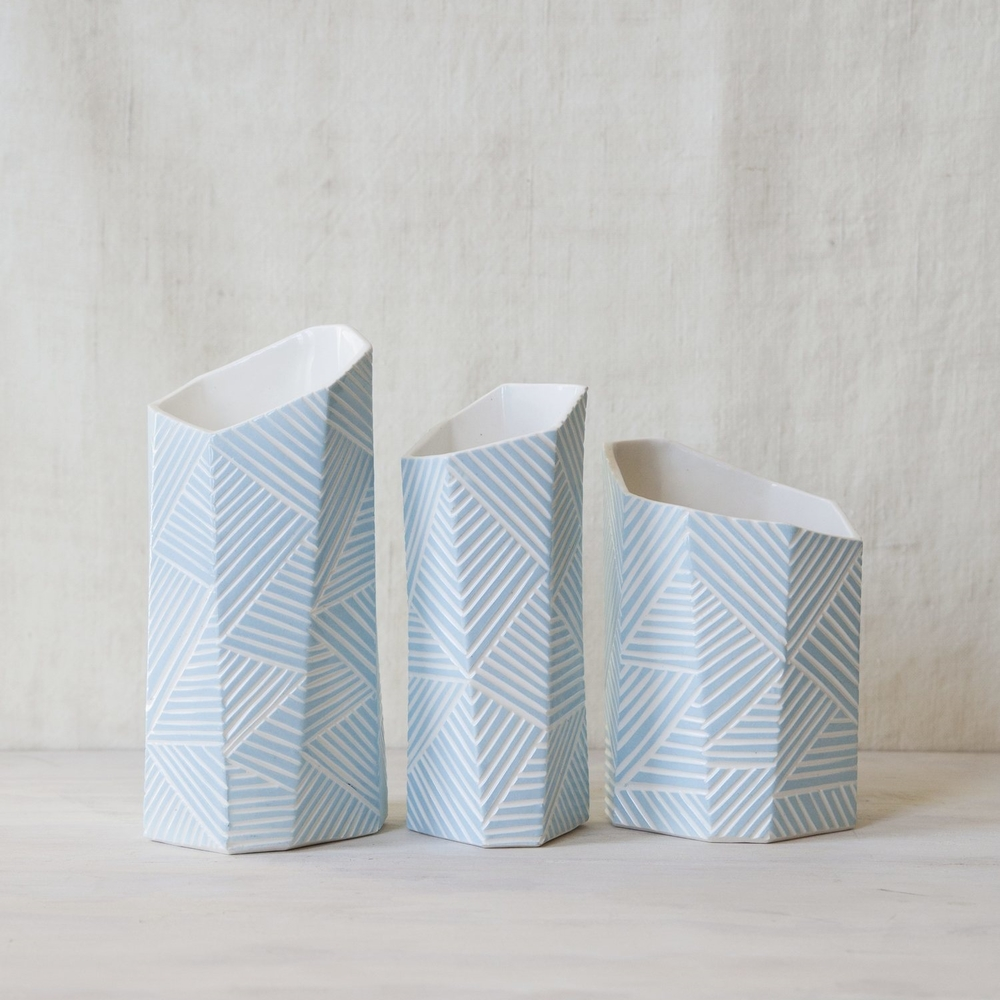 Hand-carved Geometric Vessels