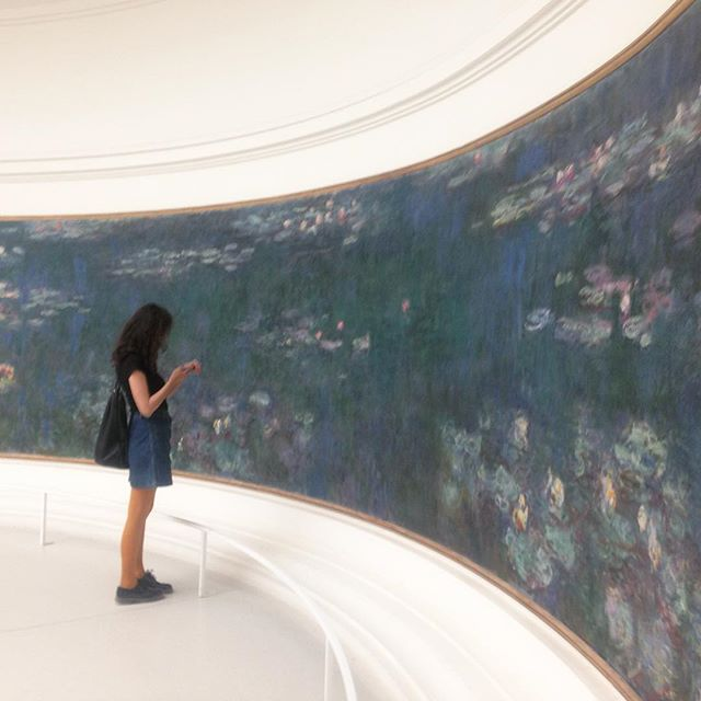 From June in Paris. Viewing Les Nymphéas in the beautiful Musée de l'Orangerie in Tuileries Gardens.