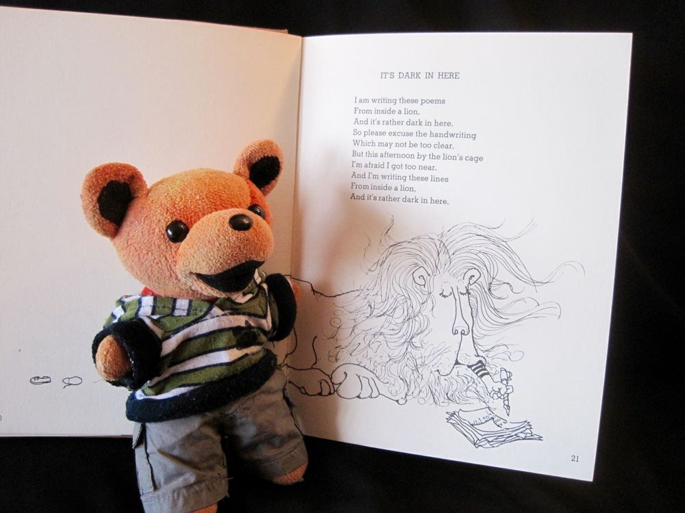 "We love Shel Silverstein's poetry books! (Pictured with Little Bear: ""It's Dark in Here"" from ""Where the Sidewalk Ends"""