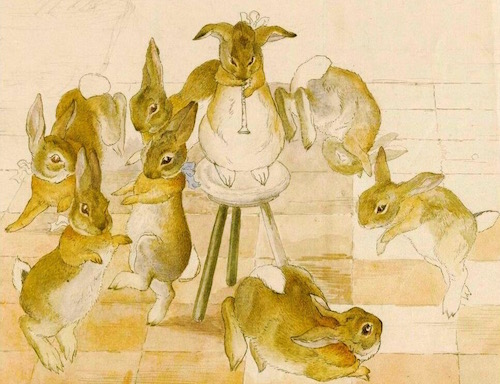 Rare Unfinished Scene of Dancing Rabbits by Beatrix Potter, 1892
