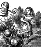 "Detail of Alice in the Garden of Live Flowers from Lewis Carroll's ""Alice in Wonderland"""