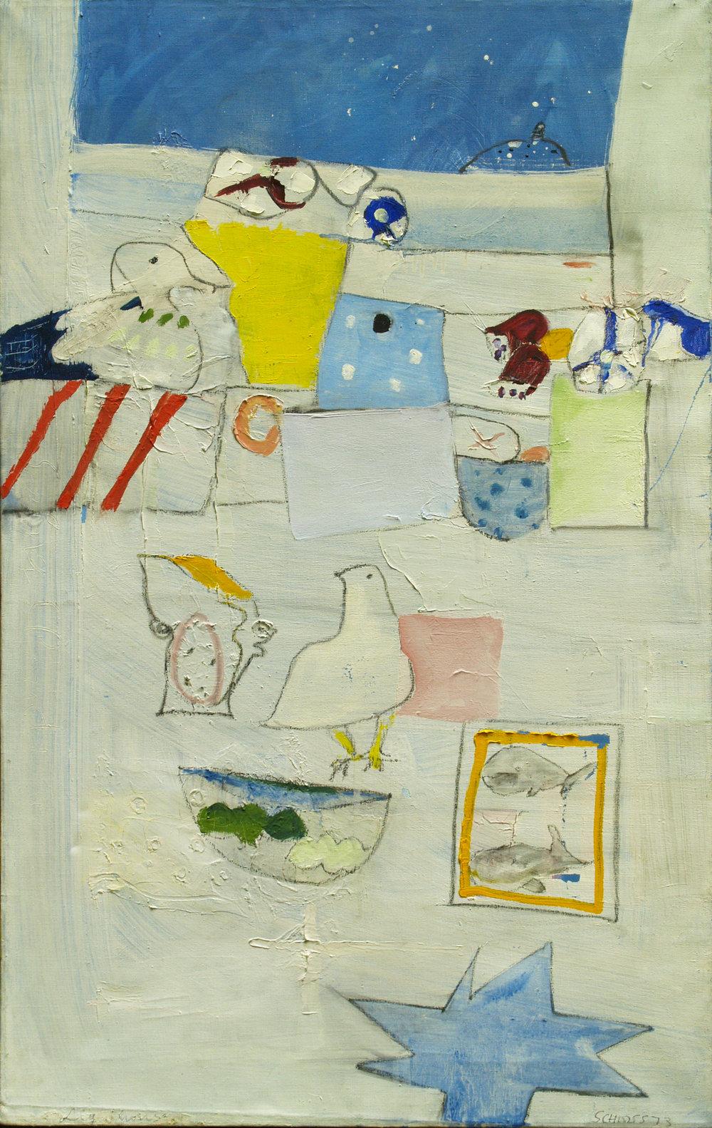 """Edith Schloss, """"Light House,"""" 1973, Oil on canvas, 31 3/8 x 19 ¾ in. (79.7 x 50.2 cm) (_102-1900)"""