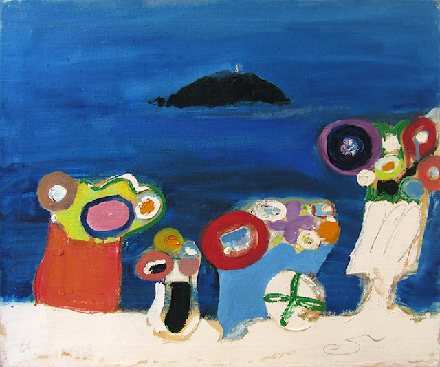 "Edith Schloss, ""Untitled (Isola del Tino)"" (1966), Oil on canvas, 19.7 x 23.6 inches (all images courtesy Norte Maar and Sundaram Tagore Gallery, New York)"
