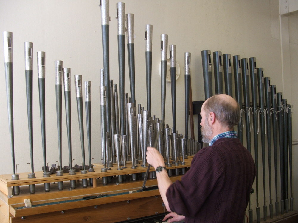 Richard Bond voices pipes for the Aeolian-Skinner restoration at Seattle First Baptist Church