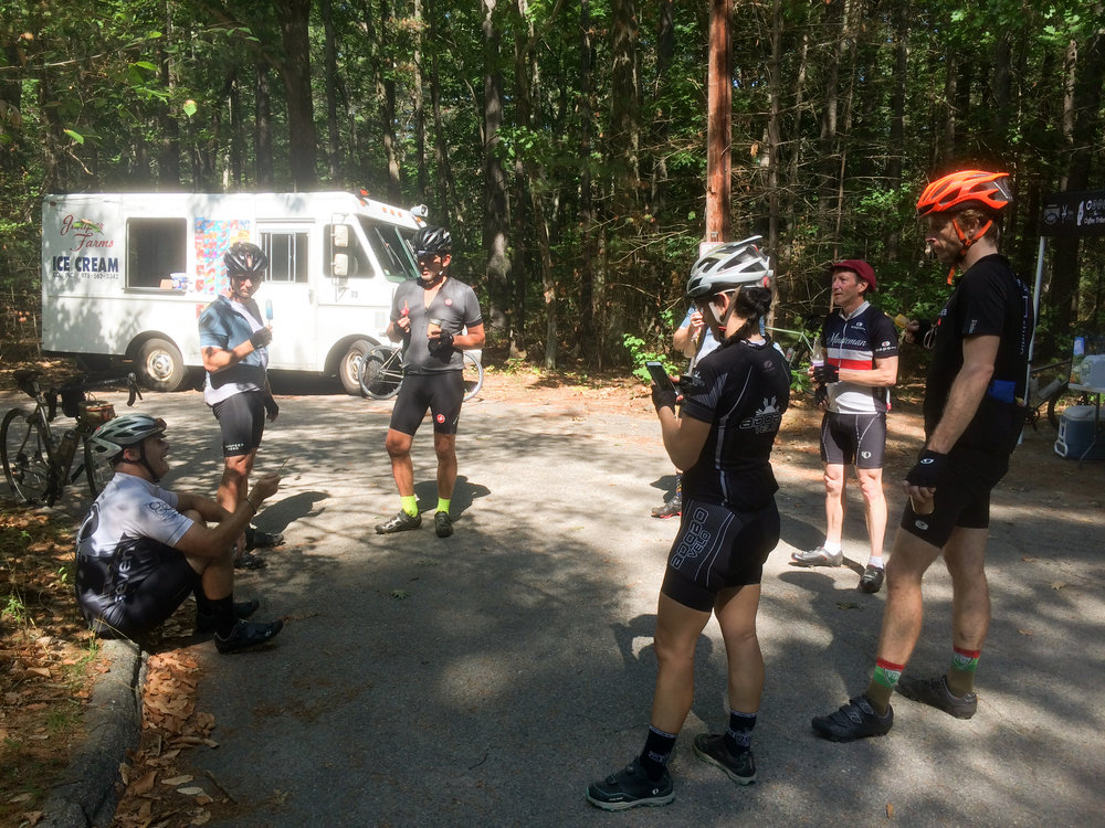 Riders enjoying ice cream, popsicles, and iced mochas