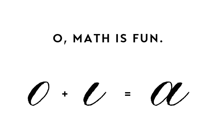 "the ""equation"" of lowercase ""a"""
