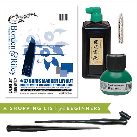 My recommended materials list for the aspiring calligrapher