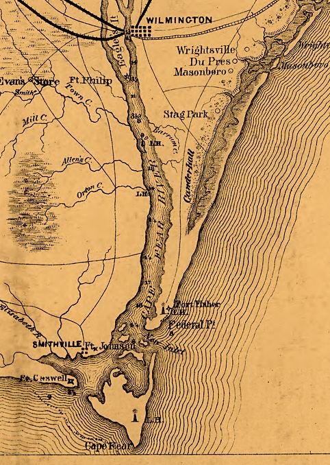 MAp of The Wilmington Area during the Civil War.  Fort Fisher sits at the southern tip of the Cape Fear Peninsula.  Wilmington Can be Seen Upriver.