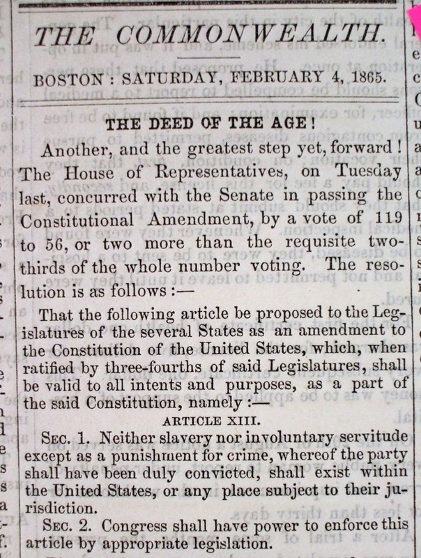 Boston newspaper announces the passage of the 13th Amendment.