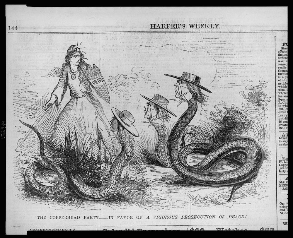 "Harper's weekly  Lampoons Democratic Copperheads, denouncing them as a ""Party in FAvor of a  Vigorous Prosecution of PEace !"""