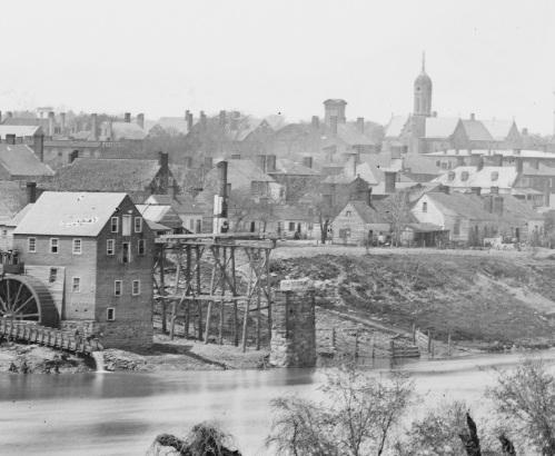 This 1863 photo of fredericksburg shows one of the destroyed bridges. The absence of these BRIDGES would be a nuisance during the summer occupation, but would prove more problematic come december at the battle of fredericksburg.