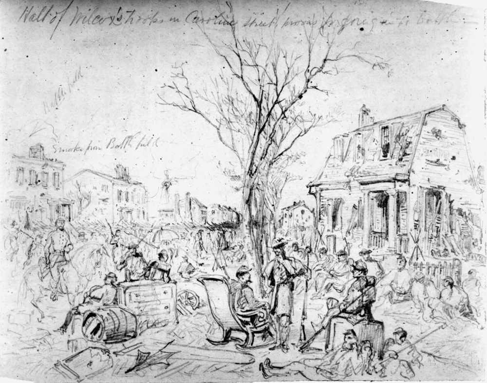 A contemporary sketch shows the troops of Willcox looting along caroline street in fredericksburg.