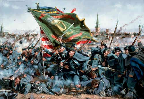 Wells and her family listened to the charges of union infantry, such as the charge of the irish brigade famously depicts in this painting.