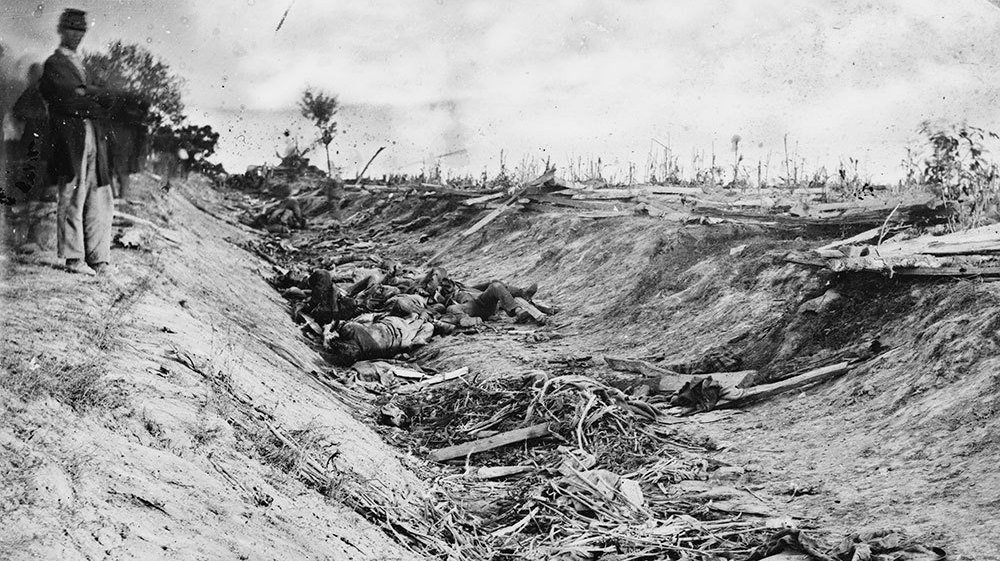 "Antietam's ""Bloody Lane"" in the aftermath of the battle"