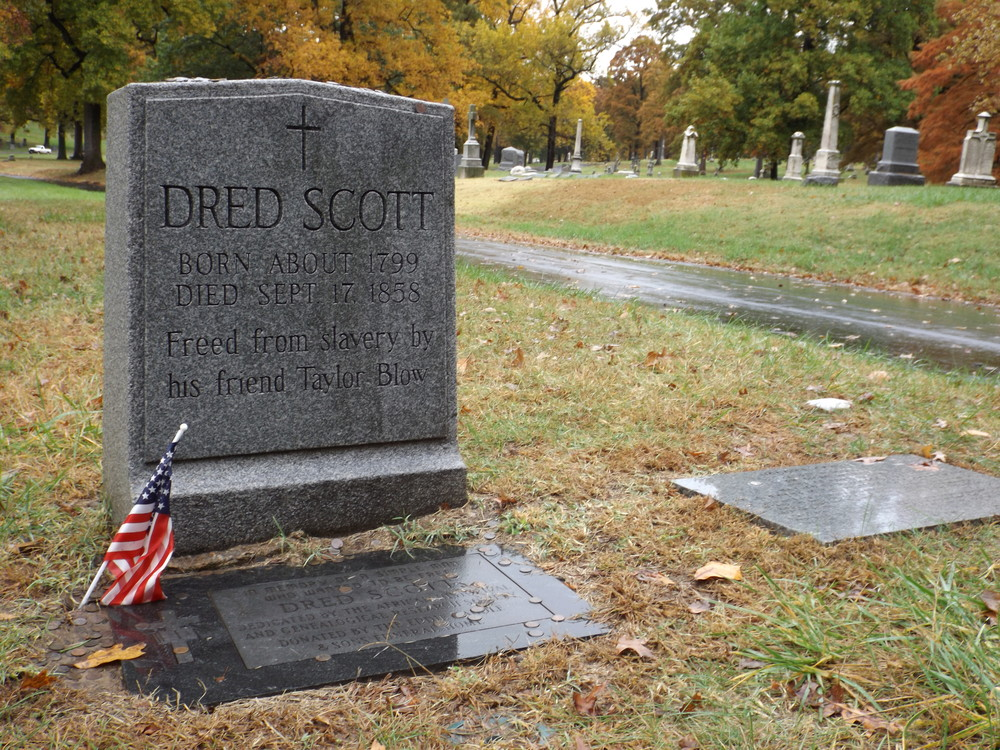 The graves of Dred and Harriet Scott in Calvary Cemetery in St. Louis.