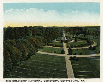 A postcard shows an aerial view of the semi-circle rings forming the Gettysburg National Cemetery.