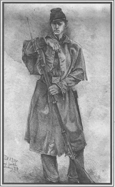 Sketch of a Sergeant Major in the 12th NY Volunteers by Edwin Forbes