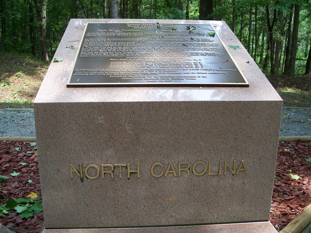 the monument to the 26th Nc was dedicated in 2007.  a similar monument to the regiment stands at gettysburg.