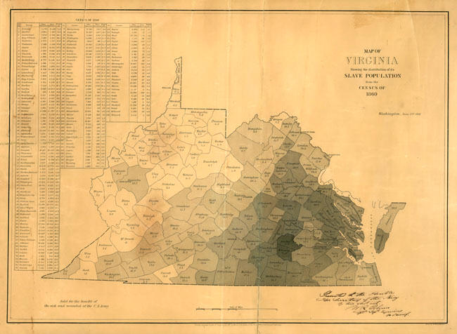 this map shows slave populations in VA, with darker areas representing a larger concentration of slaves.