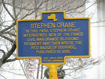 this historic marker in port jervis, ny connects crane and the 124th ny.