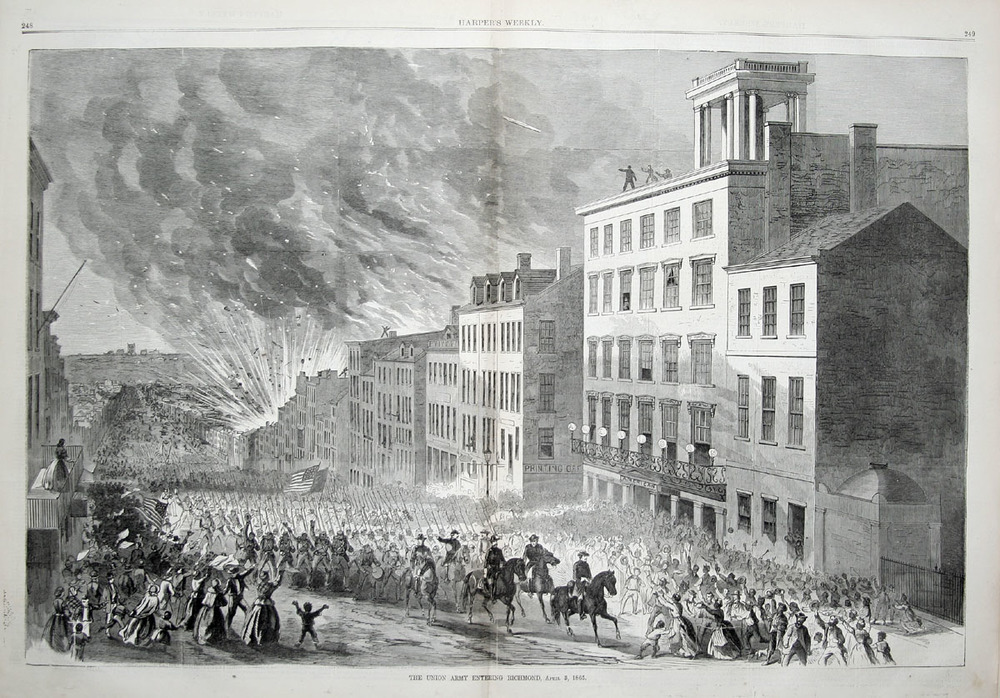Harpers Weekly illustration showing the arrival of union troops in richmond