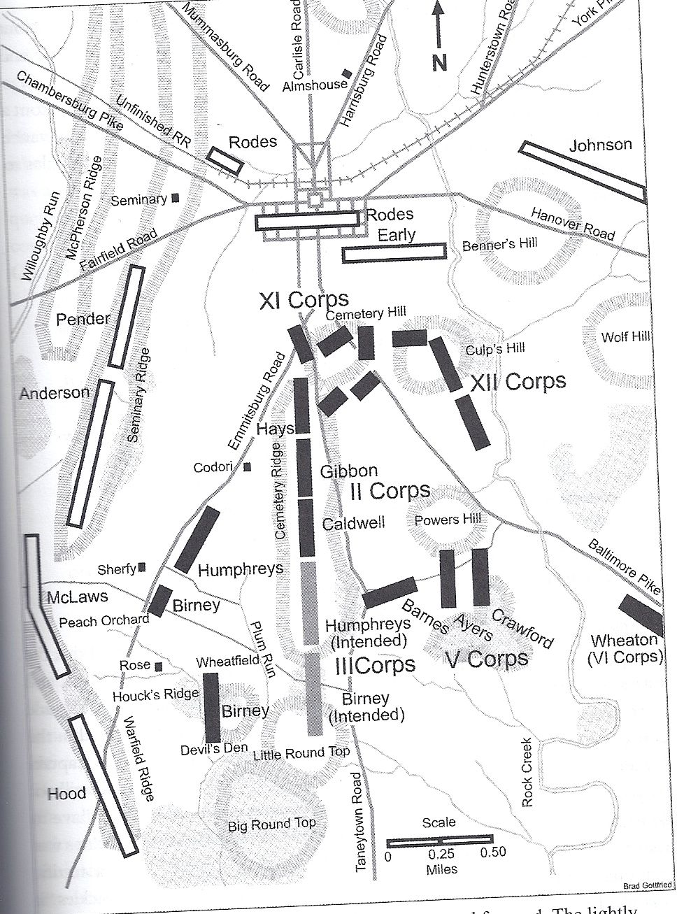 This map shows the intended position of the iii corps and where sickles took them on july 2nd.
