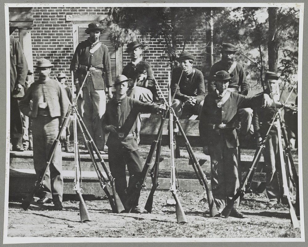 Soldiers at Appomattox Court House, Virginia in April of 1865