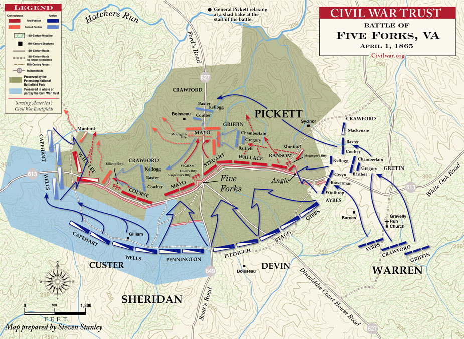 Map of the Battle of Five Forks, Courtesy of the Civil War Trust