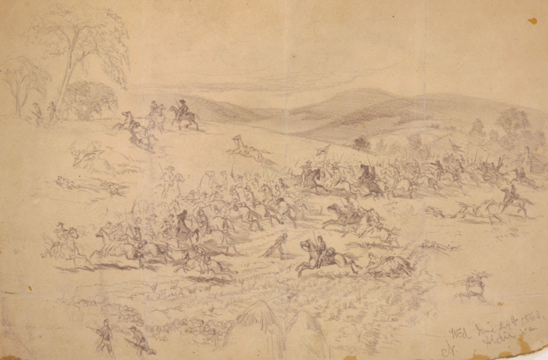 Artist Edwin Forbes' depiction of the June 17 cavalry engagement near Aldie, Virginia.  Actions such as this helped screen Robert E. Lee's invasion of the North.