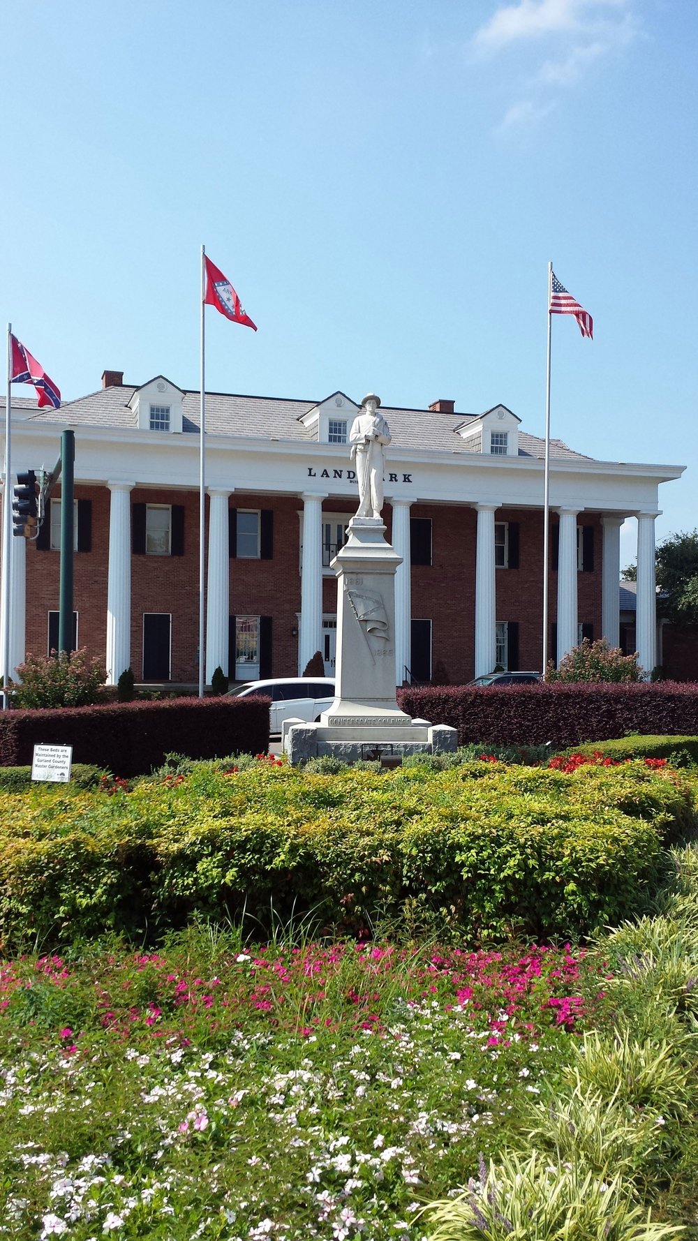 A Confederate Memorial stands in Downtown Hot Springs, along with the Confederate flag.  Such memorials are ubiquitous across the South.
