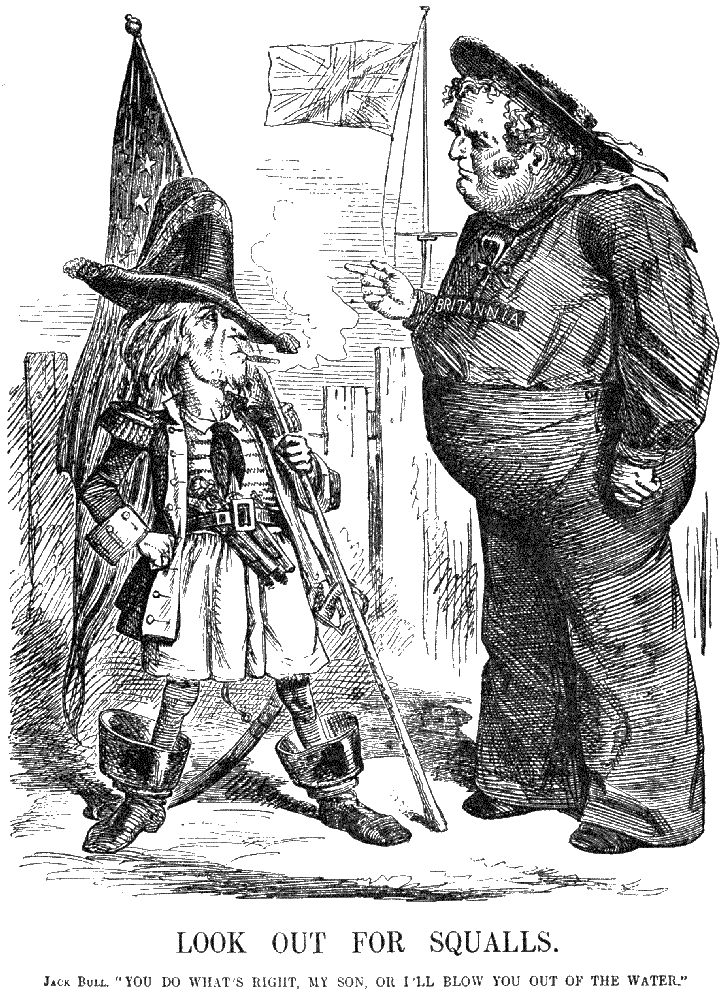 "Normal   0           false   false   false     EN-US   X-NONE   X-NONE                                                                         This British cartoon depicts a patient Britannia scolding the scrappy Union sailor for the Trent Affair, wherein U.S. personnel boarded a british ship to seize confederate emissaries to Europe: ""John Bull: You'll do what's right, my son, or I'll blow you out of the water."" The U.S. eventually backed down to British demands to release the Confederate commissioners."