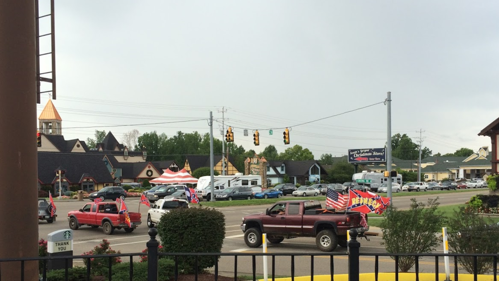 A portion of one such parade of Confederate battle flags in East Tennessee.