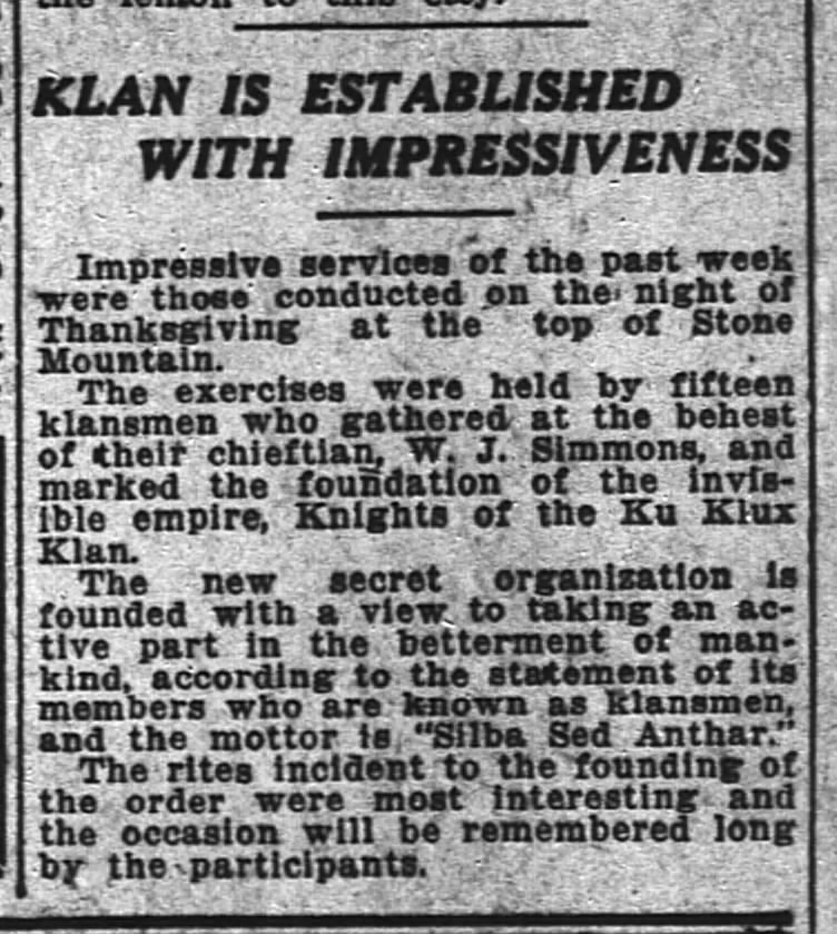 November 28, 1915 article from the Atlanta Constitution about the rebirth of the KKK at Stone Mountain