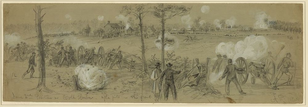 Confederate position at mine run with ii corps batteries in foreground; sketch by alfred waud (Library of COngress)