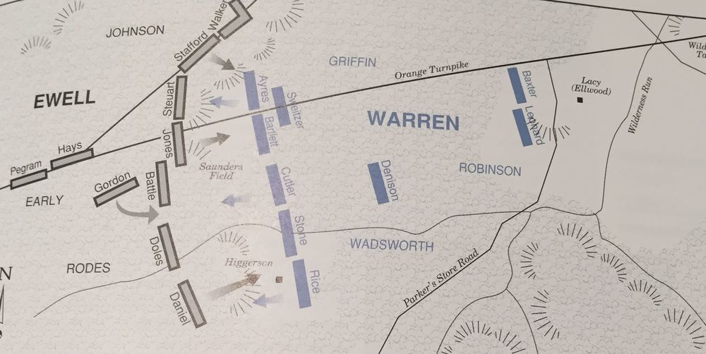 Warren's position on may 5th; map from the nps Civil War series book on the wilderness and Spotsylvania, page 7