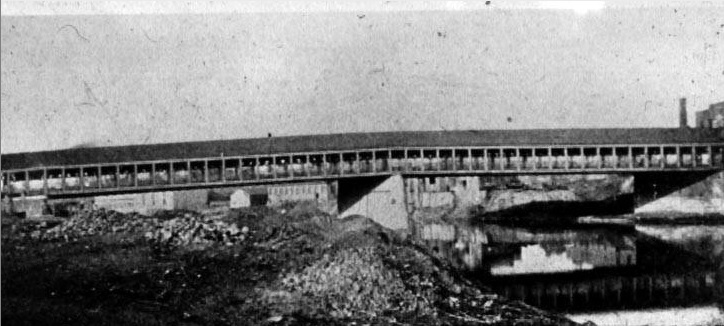 The BRoad Street Bridge, a covered wooden structure that stood for much of the 19th century