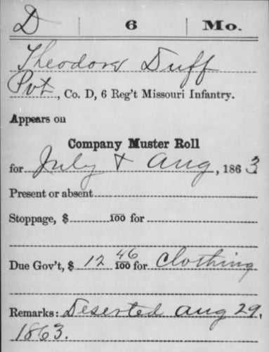 The Service record of 12-year old Theodore Duff, 6th MO Inf. (U.S.)