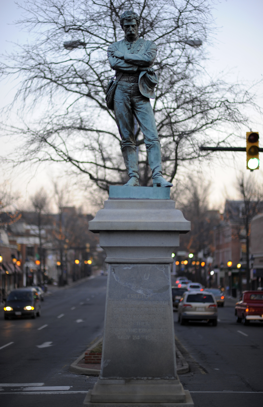 This Statue memorializing Confederate dead in downtown Alexandria, Virginia has come under review by city leaders (photo courtesy of John McDonnell & the Washington Post)